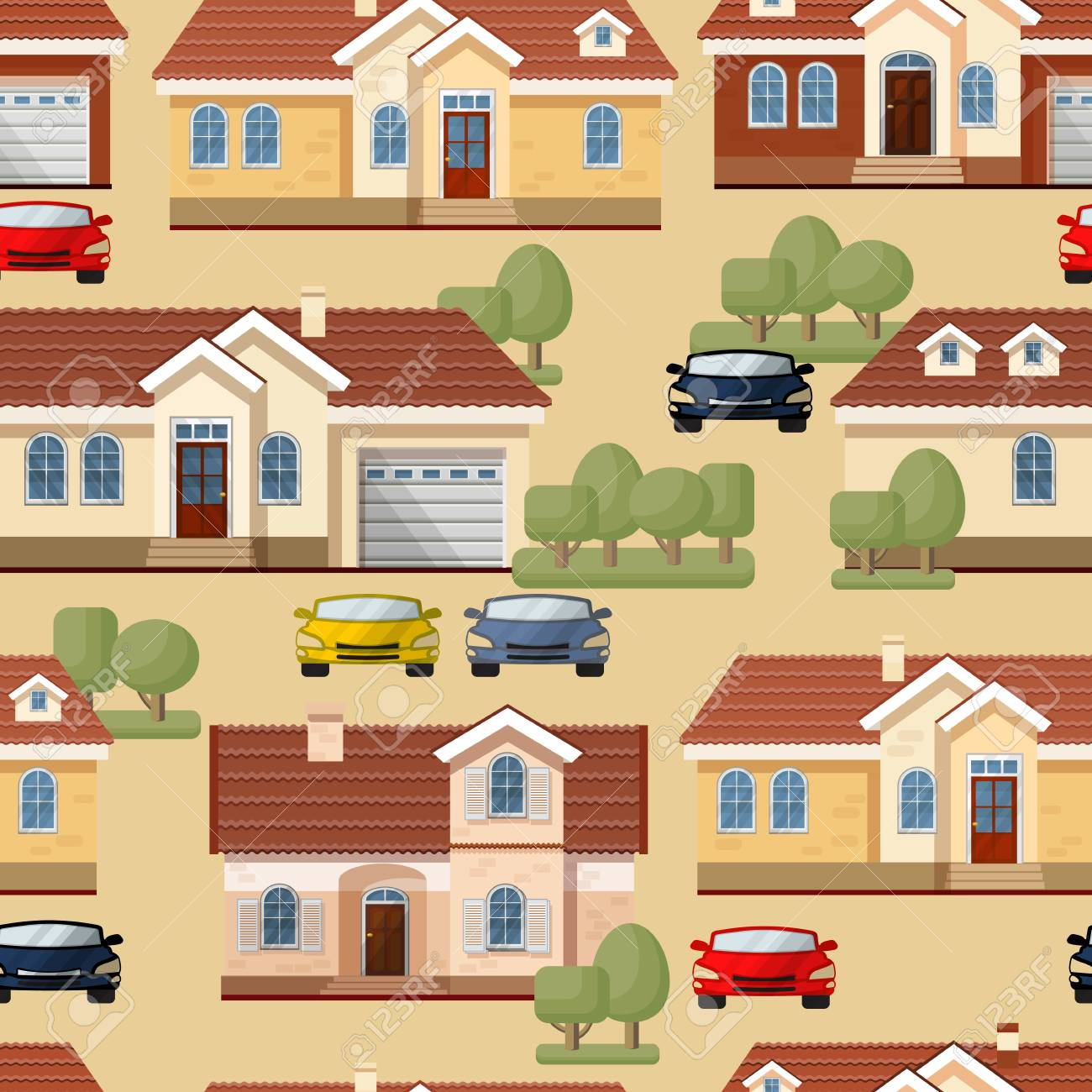 Vector seamless pattern of cars, trees and houses on beige  Town
