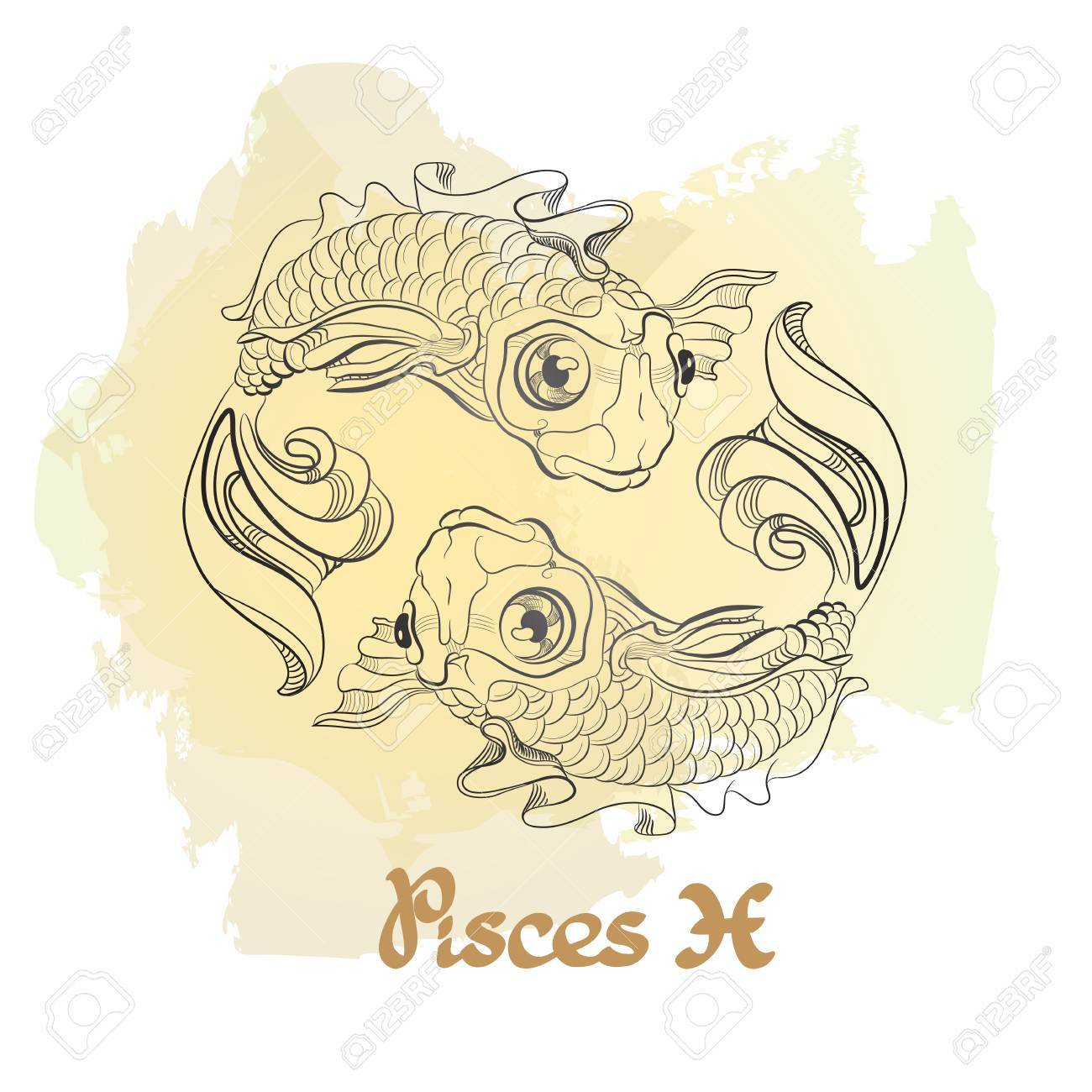 Hand Drawn Line Art Of Decorative Zodiac Sign Pisces Royalty Free