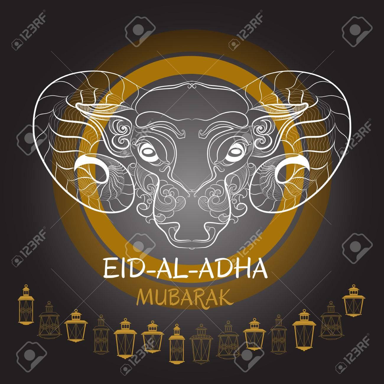 Eid Al Adha Mubarak Vector Illustration Of Sheep And Lantern