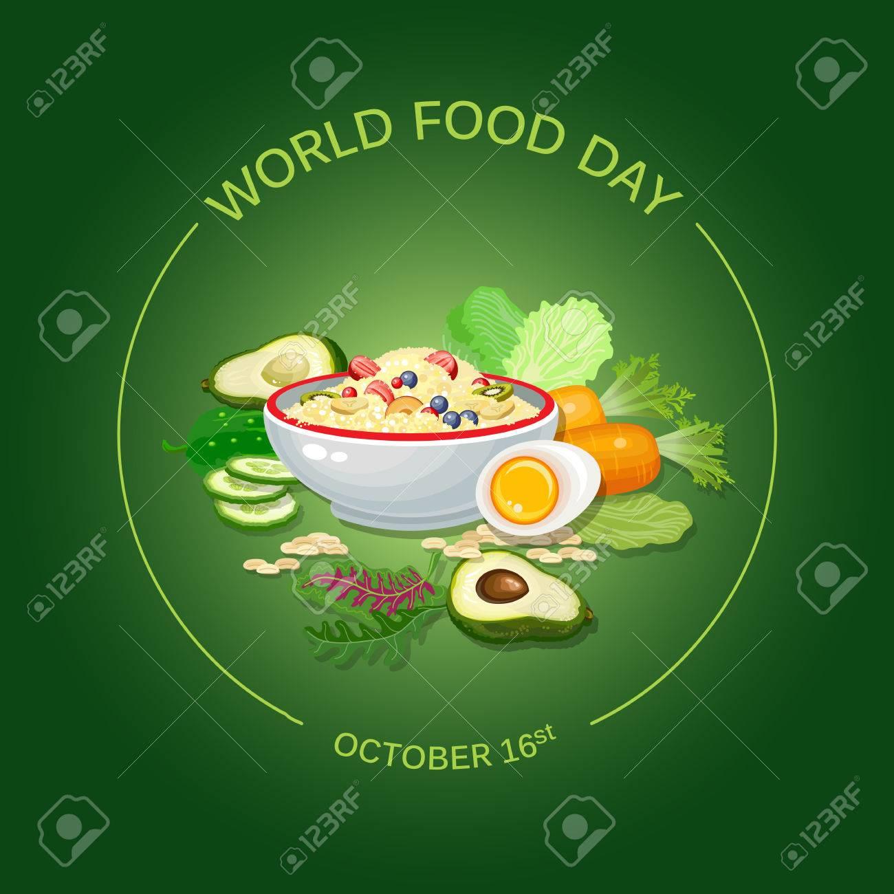 Ilustracion Del Vector Del Dia Mundial De La Alimentacion Tarjeta De Felicitacion Cartel Ilustraciones Vectoriales Clip Art Vectorizado Libre De Derechos Image 86956994