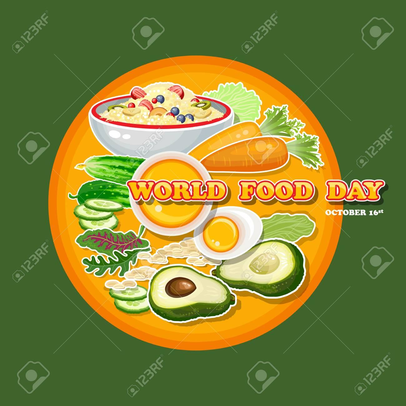 Dia Mundial De La Alimentacion Ilustracion Vectorial Tarjeta De Felicitacion Cartel Ilustraciones Vectoriales Clip Art Vectorizado Libre De Derechos Image 87050266