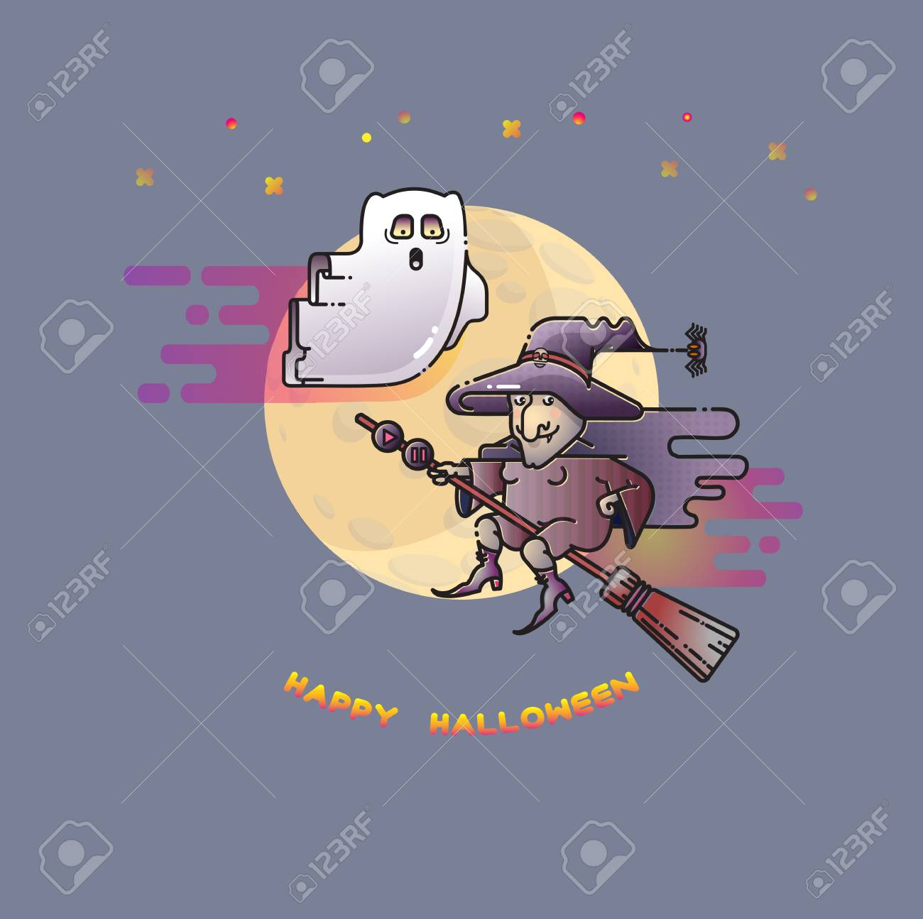 Happy Halloween Card With Funny Ghost, Witch And Moon. Stock Vector    87349912