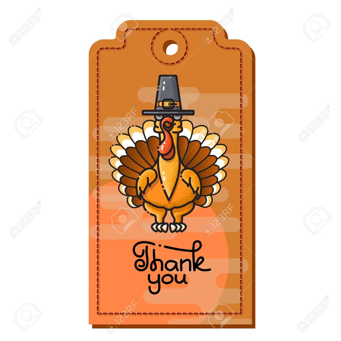 Gracias. Dibujos Animados De Turquía En Sombrero De Peregrino ...