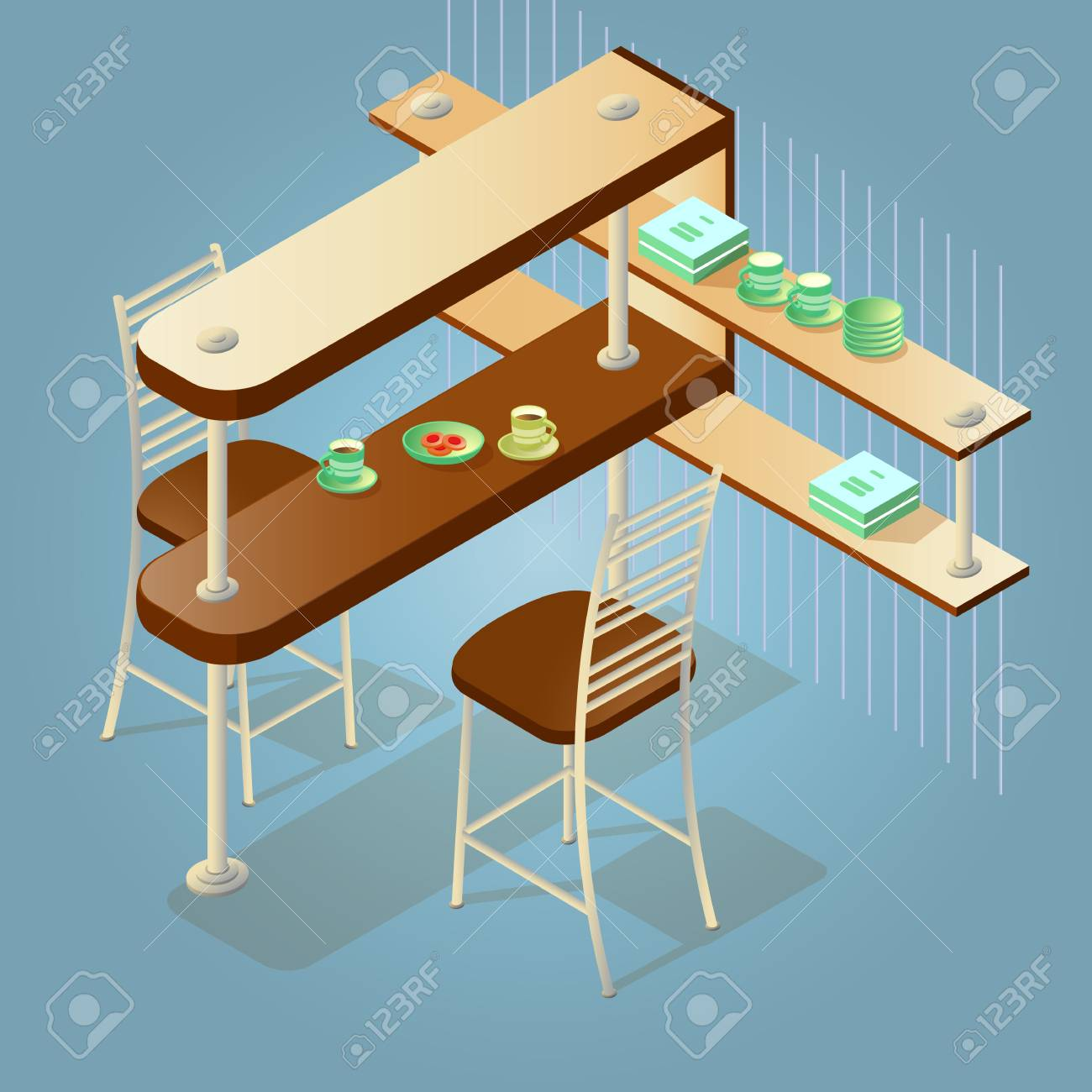 Set Of The Isometric Cartoon Counter And Chairs Icon Isolated ...
