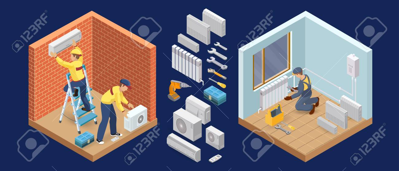 Conditioner service. Heating service. Isometric interior repairs concept. Worker and equipment icon. Builder in uniform, professional tools, radiators. Home interior renovation. Vector flat 3d illustration. - 122571729
