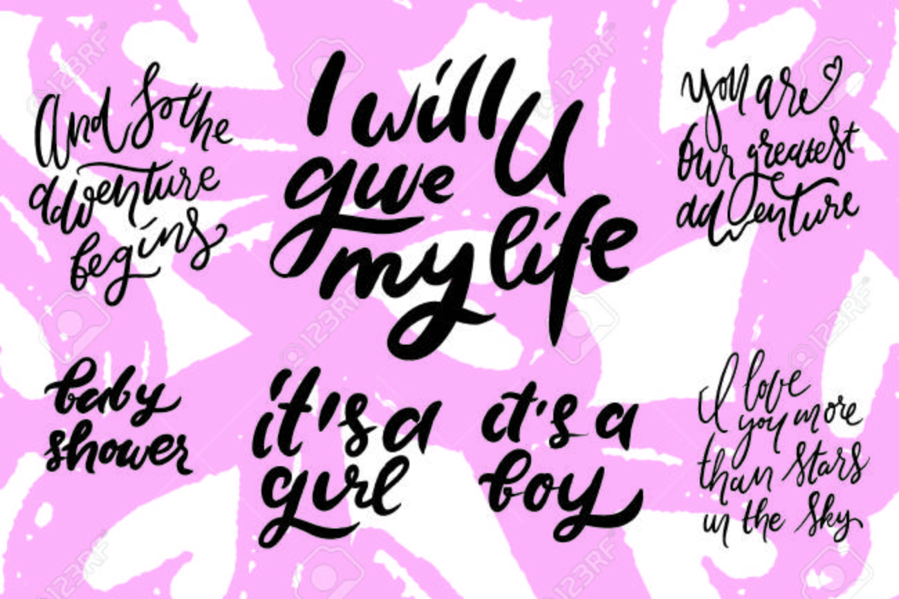 Baby Shower Quotes Hand Lettering Illustration For Your Design