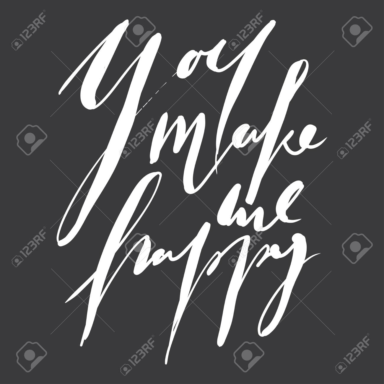 Hand Lettering Love Quote For Your Design You Make Me Happy Royalty