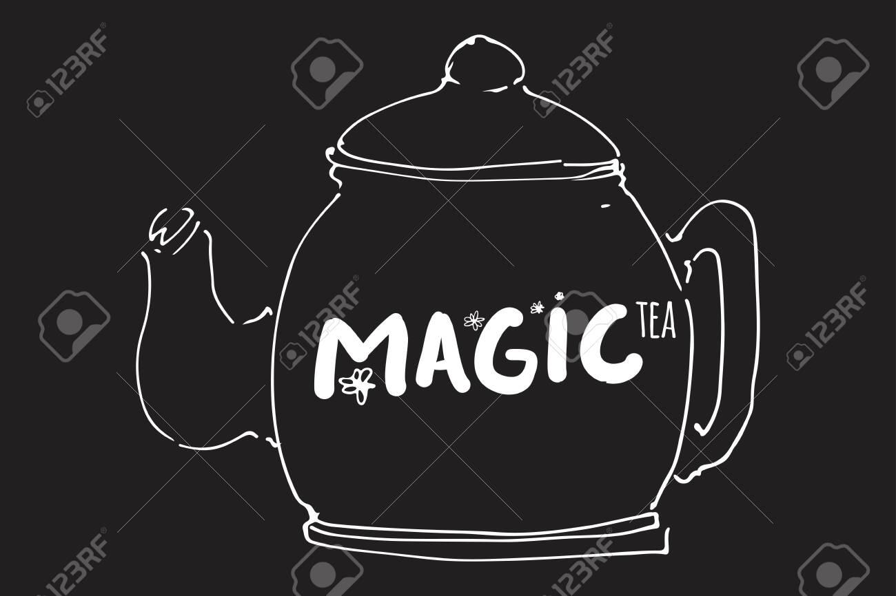 Tea pot hand drawn illustration for your design: cafe menu, banner - 118664363