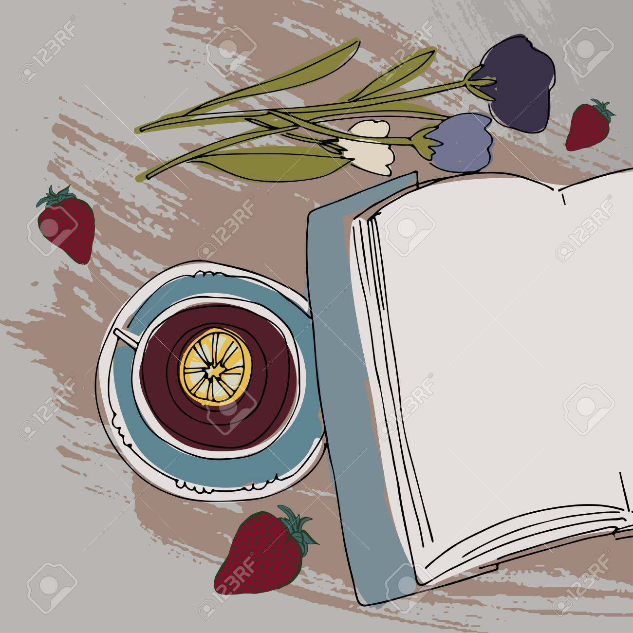 Tea, book, flowers relax illustration for your design: posters, banners, mock ups - 118664452