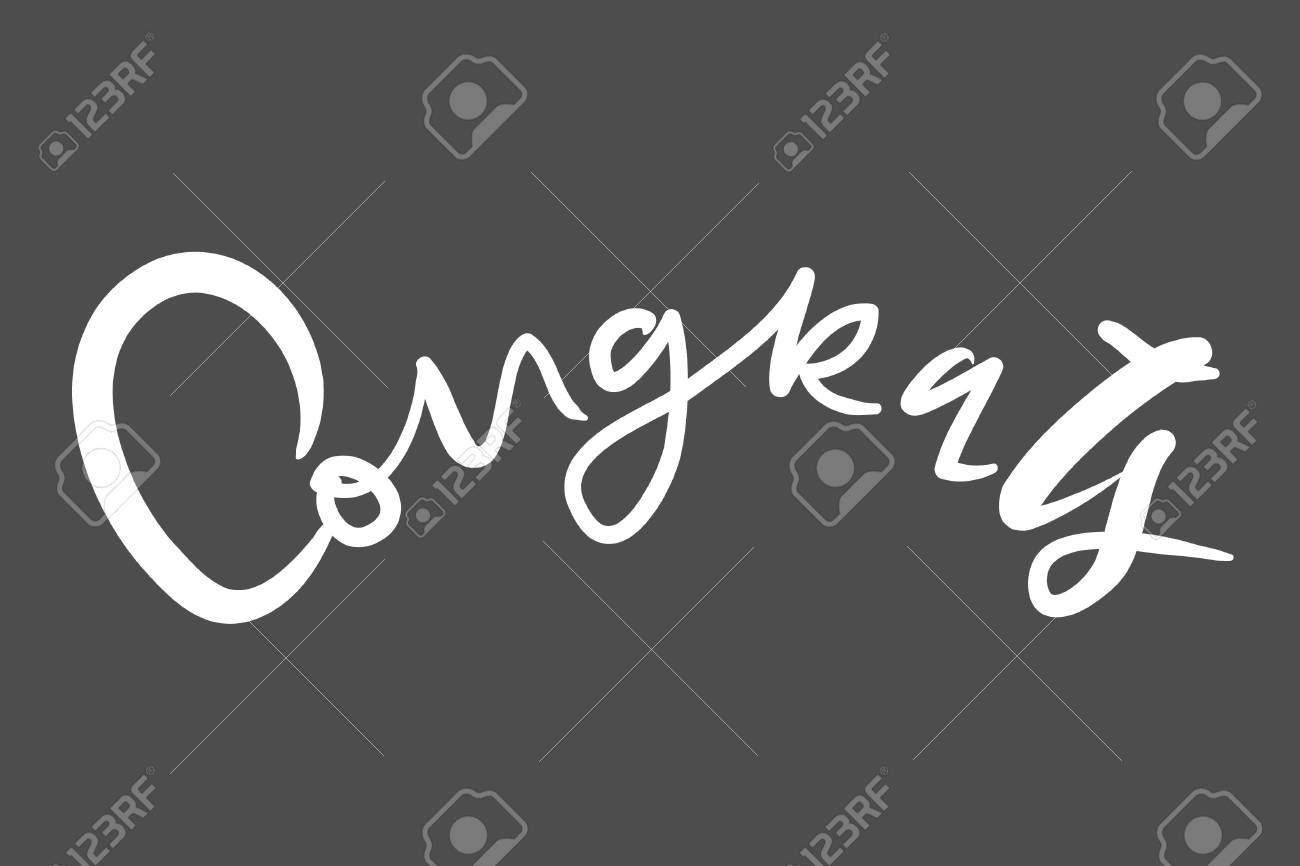 congratulation card. Vector hand drawn phrase. Hand lettering poster. Can be used for graduation, greeting, ceremony, achievement. - 118664462