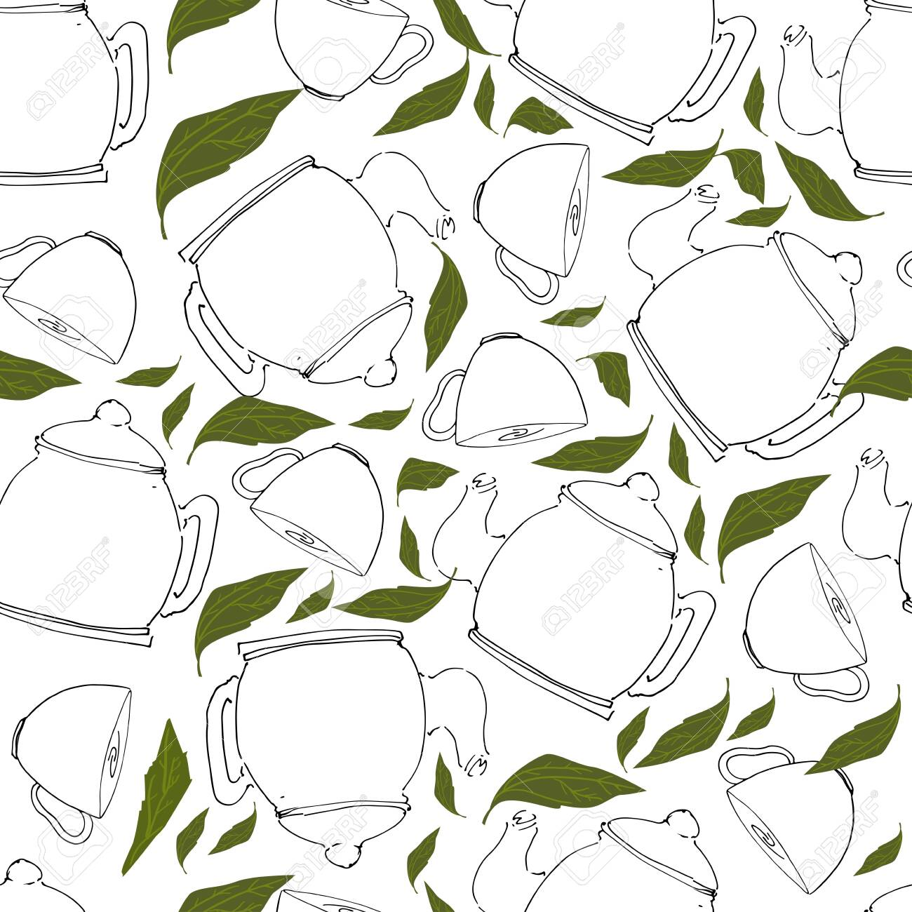 Tea pot hand drawn seamless pattern for your design: cafe menu, banner - 118664468