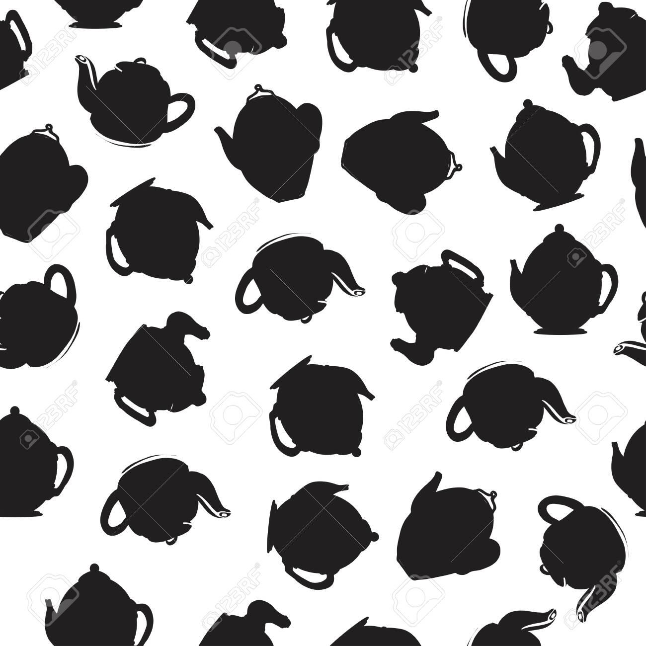 Tea pot seamless pattern for your design: posters, website, menu - 118664695