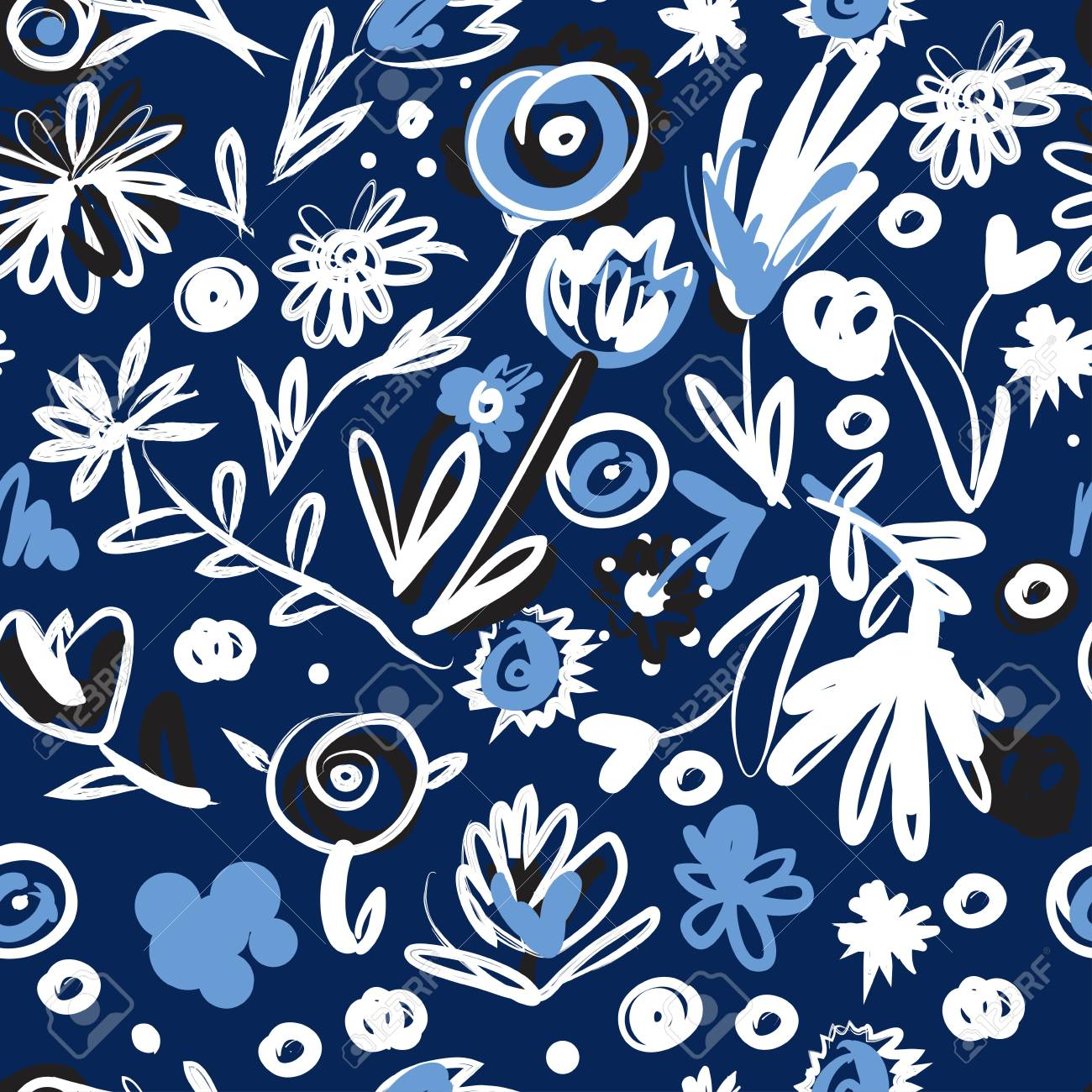 hand drawn imagine flowers set for your design. Seamless pattern - 118664739