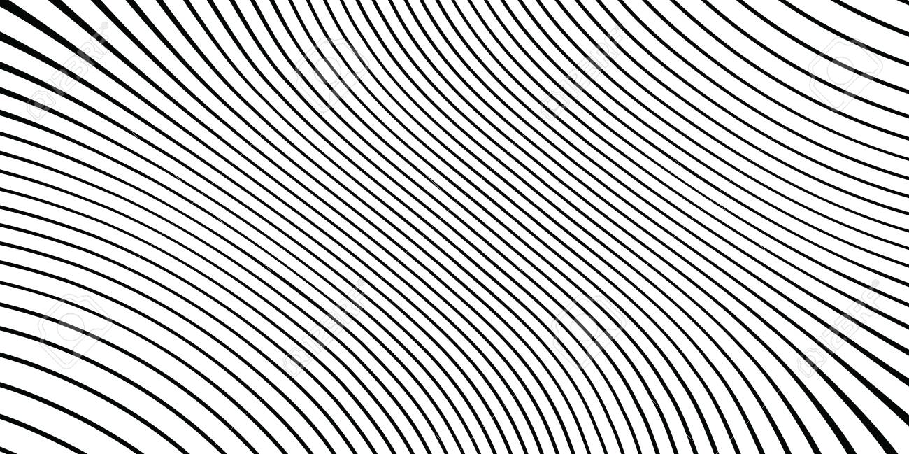 Wave monochrome background. Simple linear halftone texture. Vector black & white background. Abstract dynamical rippled surface. Visual 3D effect. Illusion of movement. - 122103933