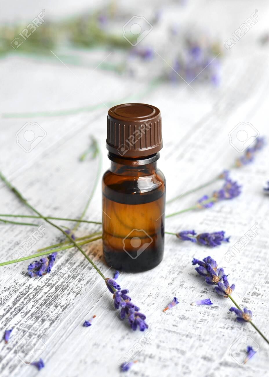 Organic herbal oil in dark glass bottle and fresh lavender flowers on light old wooden table background - 137163483