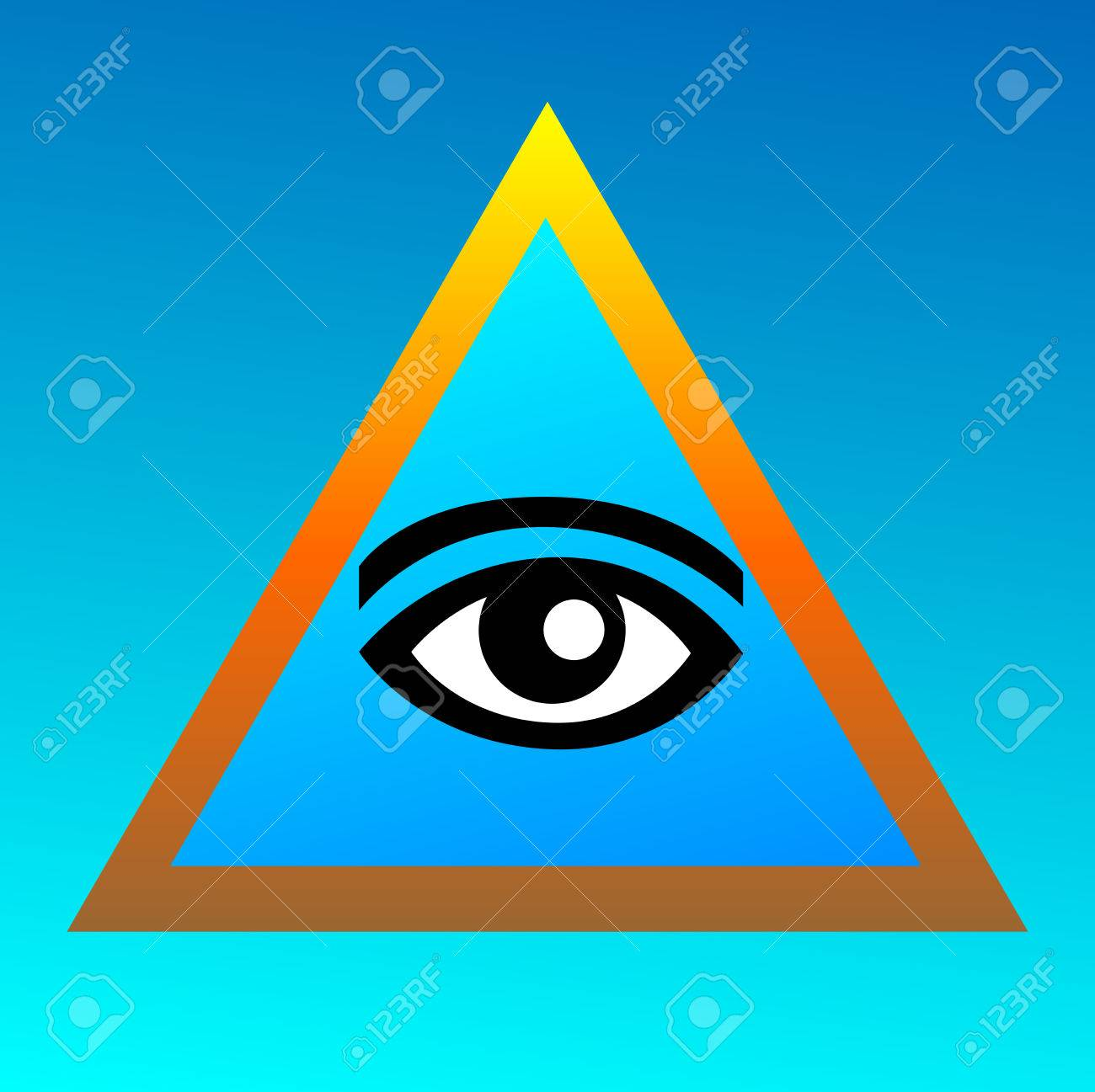 Symbolism Of Freemasonry On A Blue Background Eye In The Golden