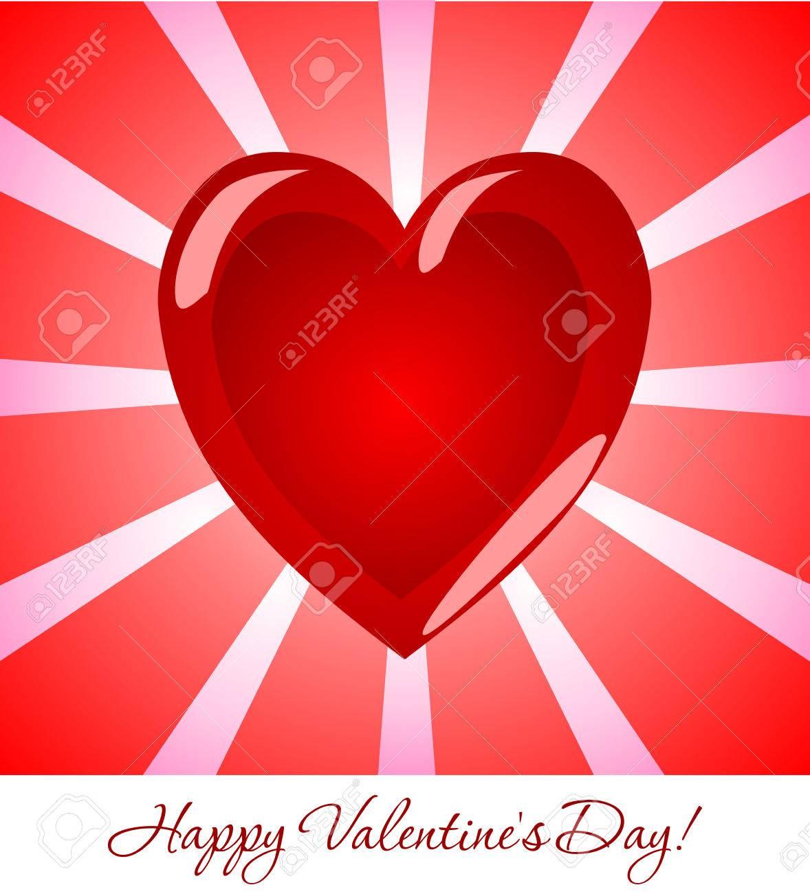Belle Carte De Voeux Pour La Saint Valentin Coeur Volumetrique Pop Glamour Art Rouge Sur Fond De Rayons Roses Salutations De Vacances Pour Les Amateurs Clip Art Libres De Droits Vecteurs