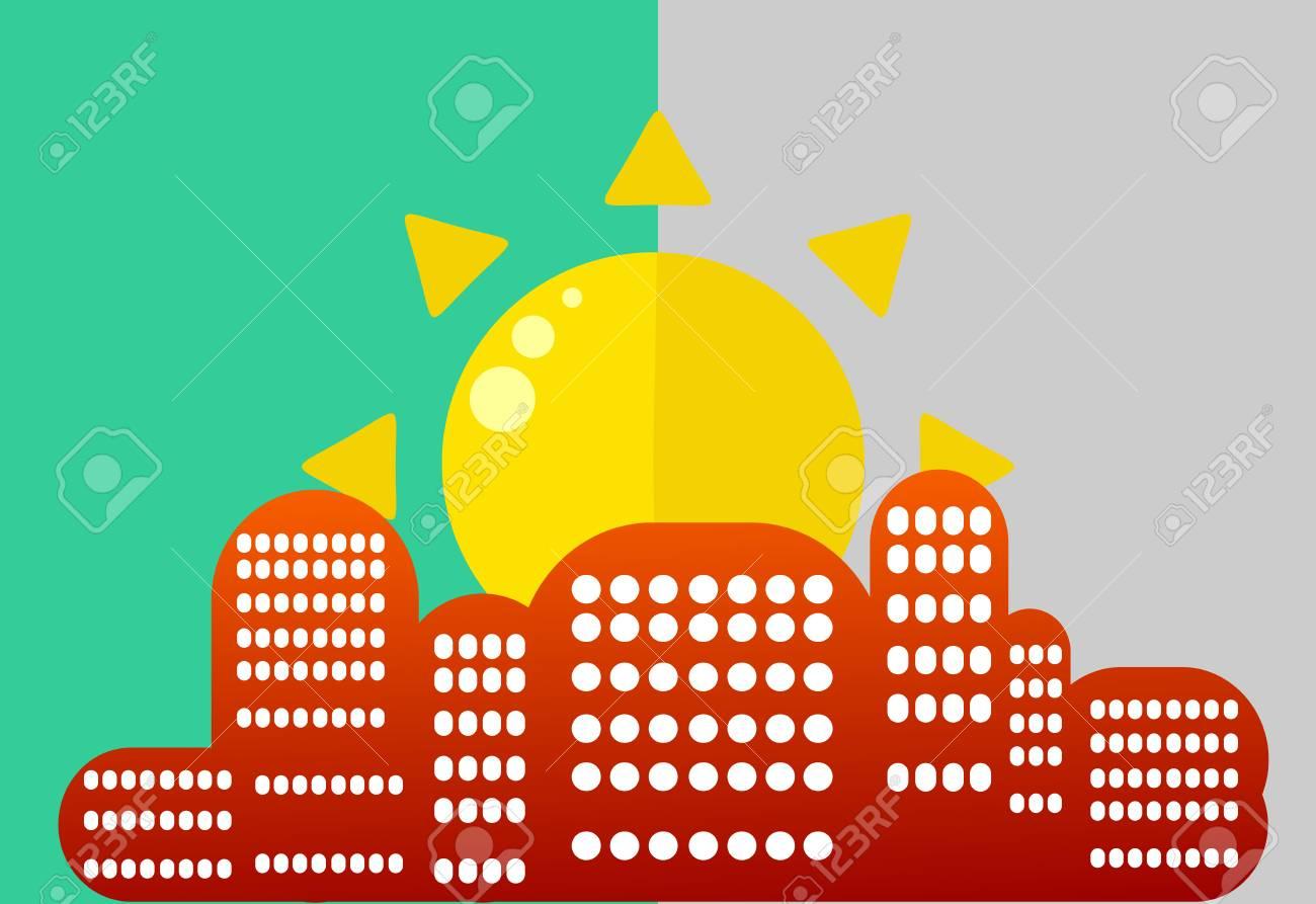 市内の太陽。美しく、シンプルな横長平らな青い空。前面に窓が建物のシルエット。