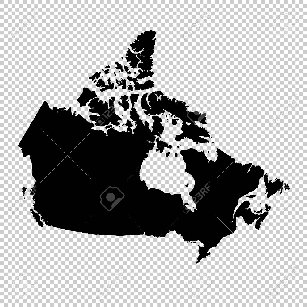 Map Of Canada Eps Vector Map Canada. Isolated Vector Illustration. Black On White