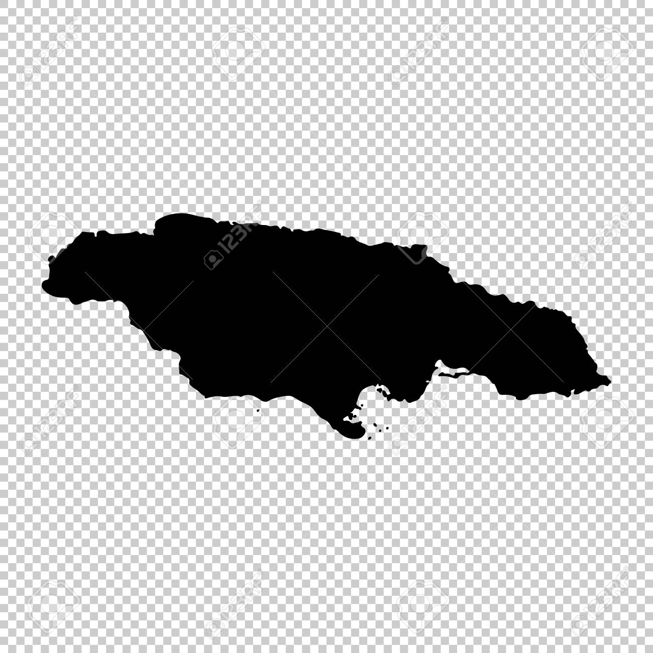 Vector map jamaica isolated vector illustration black on white background stock vector