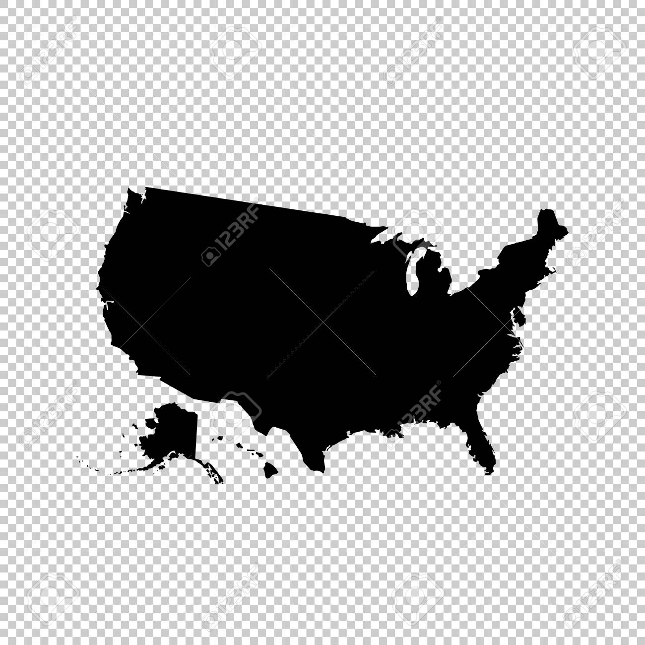 Map Of Usa Vector.Vector Map Usa Isolated Vector Illustration Black On White