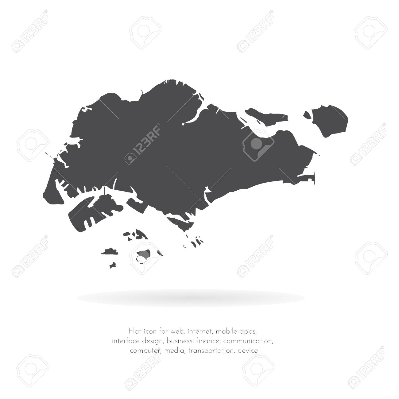 Vector Map Singapore. Isolated Vector Illustration. Black On ...
