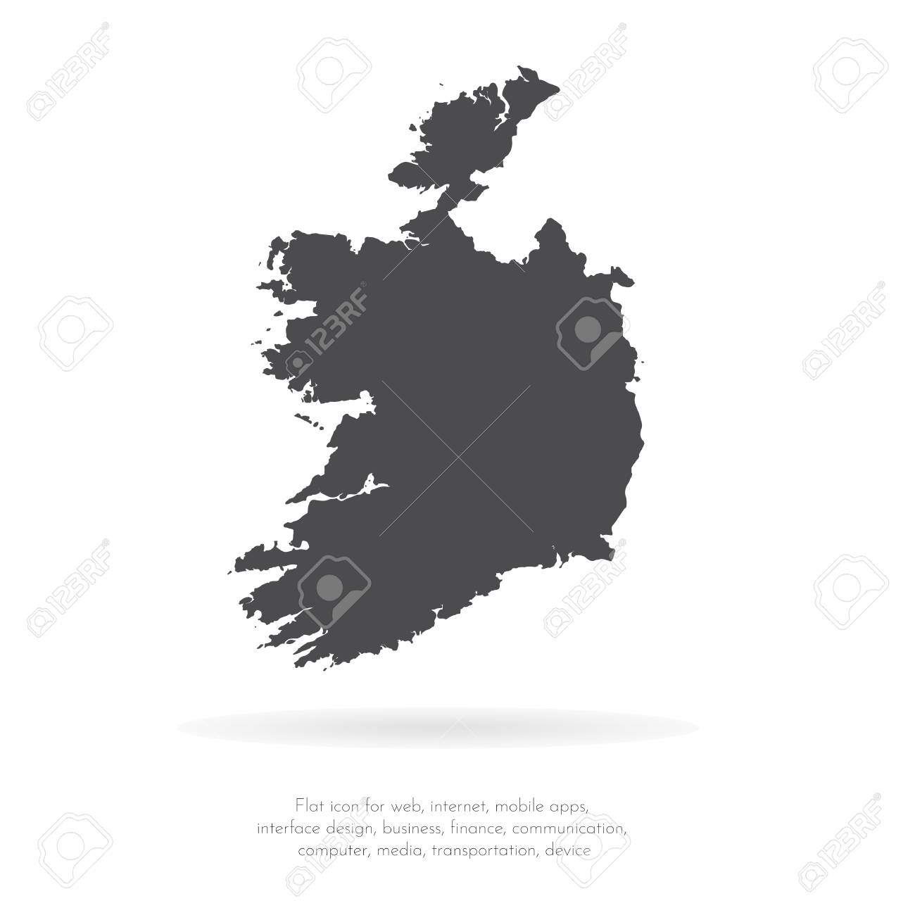 Map Of Ireland Black And White.Vector Map Ireland Isolated Vector Illustration Black On White