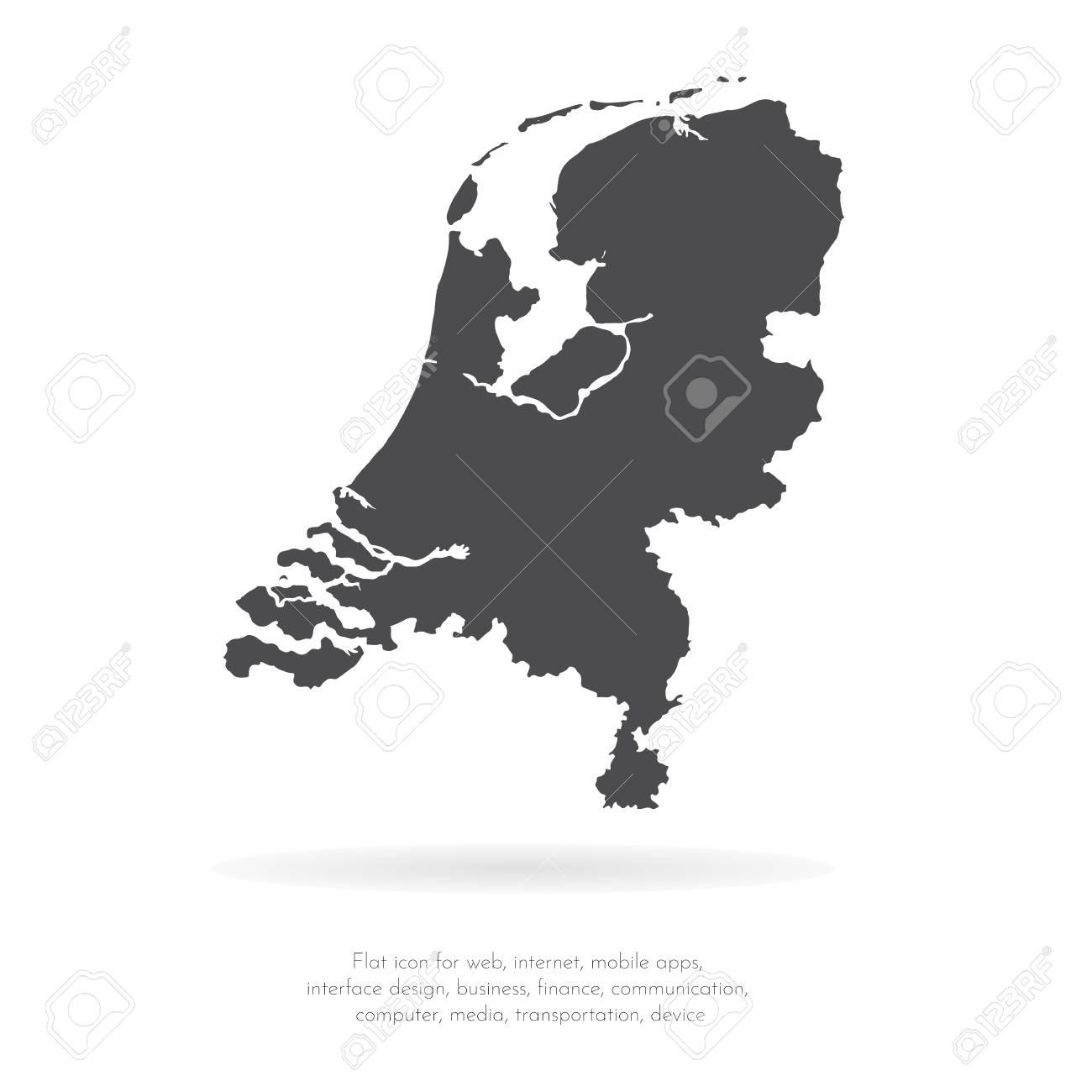 Vector map Netherlands. Isolated vector Illustration. Black on White background. EPS 10 Illustration. - 108150082