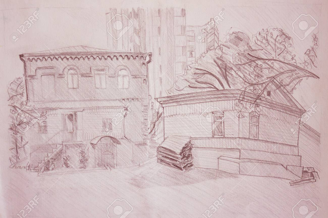 Stock photo two old small houses in the foreground high rise modern buildings in the distance pencil drawing from nature