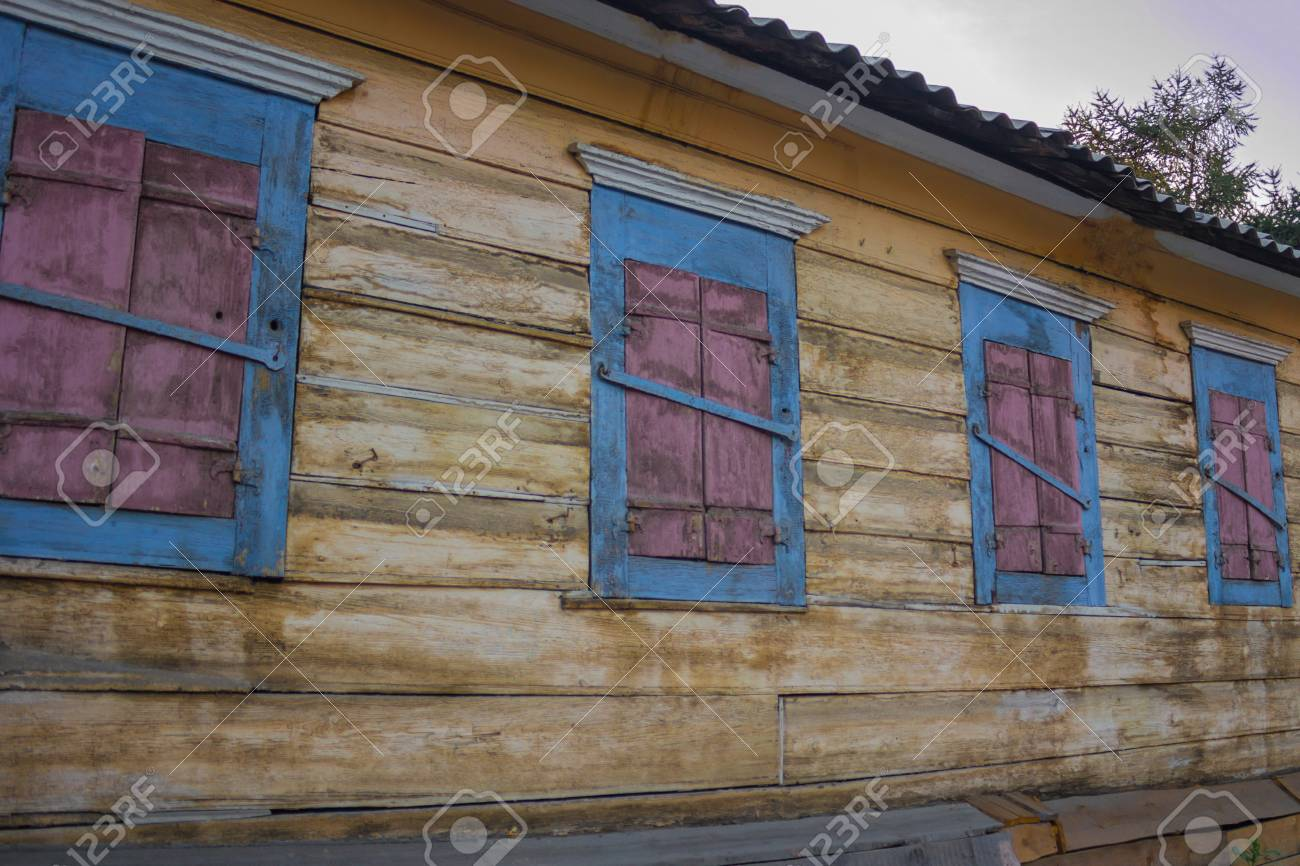 The Old Wooden House The Windows Are Shutters Abandoned No