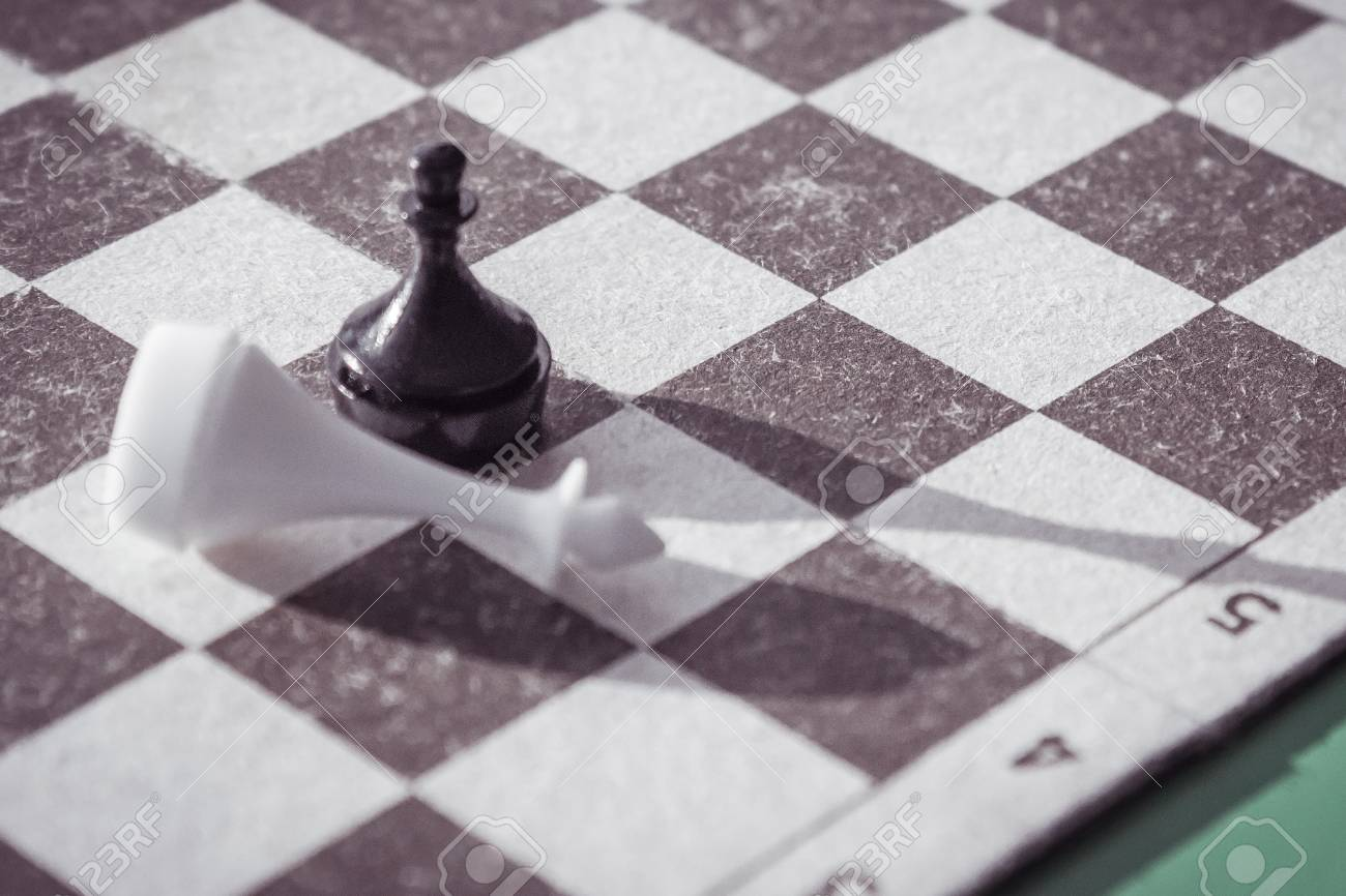 An annoying loss, defeat  On the chessboard a pawn beats the