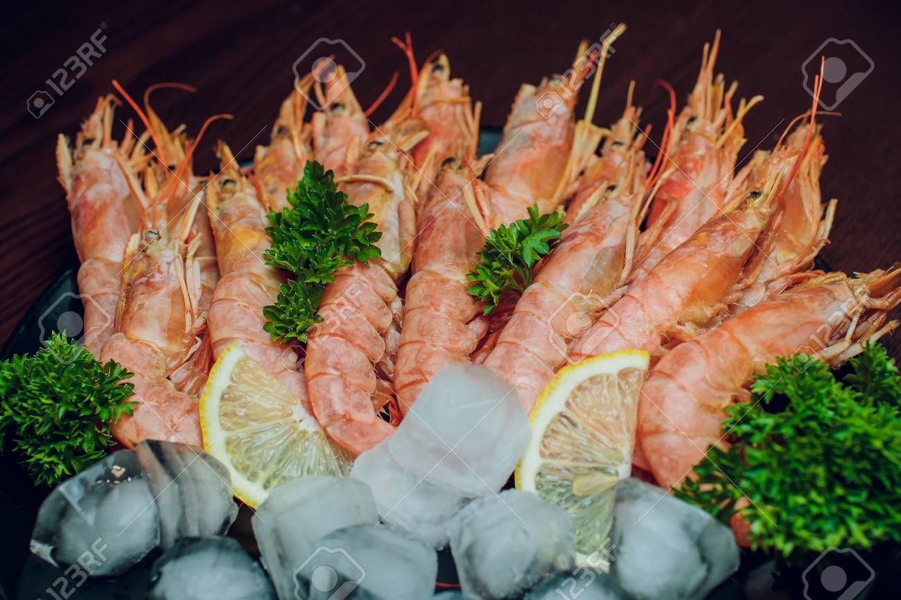 Argentine Raw Shrimp Seafood Food Red Ice Stock Photo Picture And