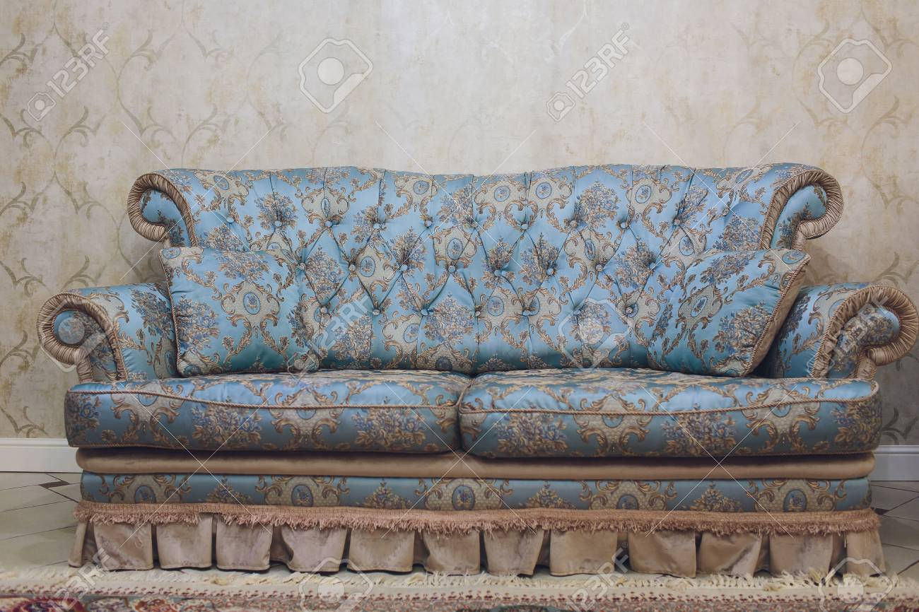 Pretty Simple Decor Of Living Room With Blue Sofa And Light Stock Photo Picture And Royalty Free Image Image 115091499