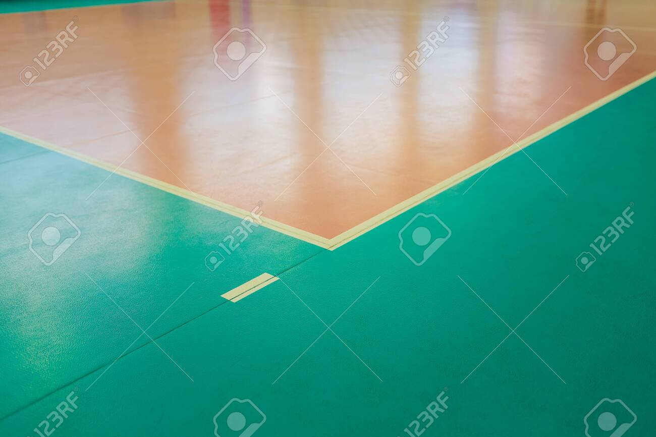 Rubber Flooring In The Gym Empty Professional Volleyball Court