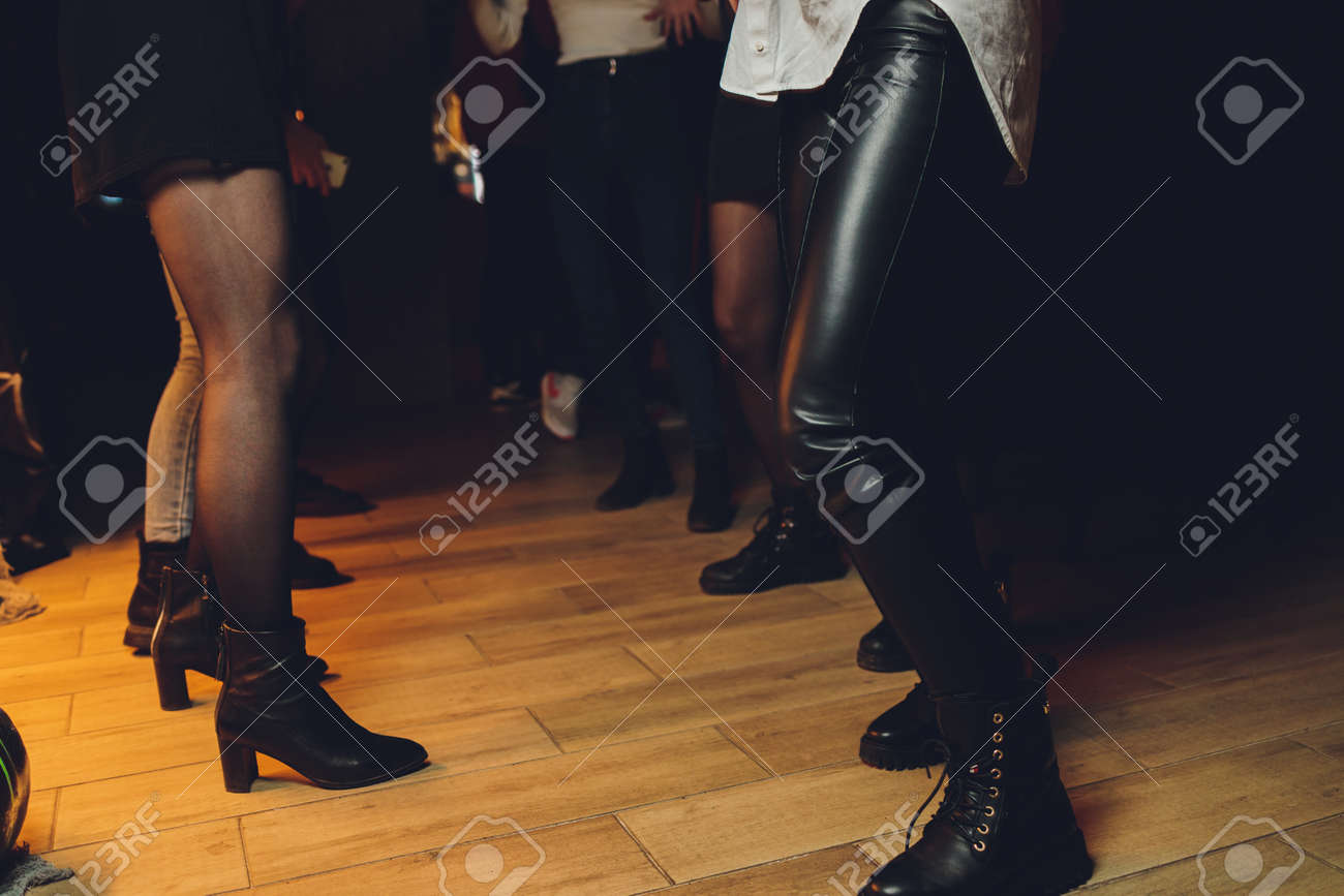feet of people dancing on a club party. unrecognizable. - 158679883