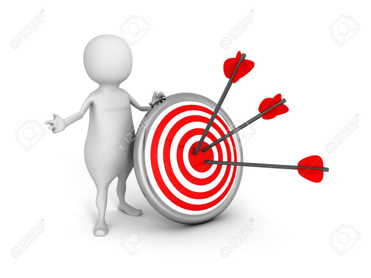 White 3d Man With Target And Arrows Success Achivement Concept