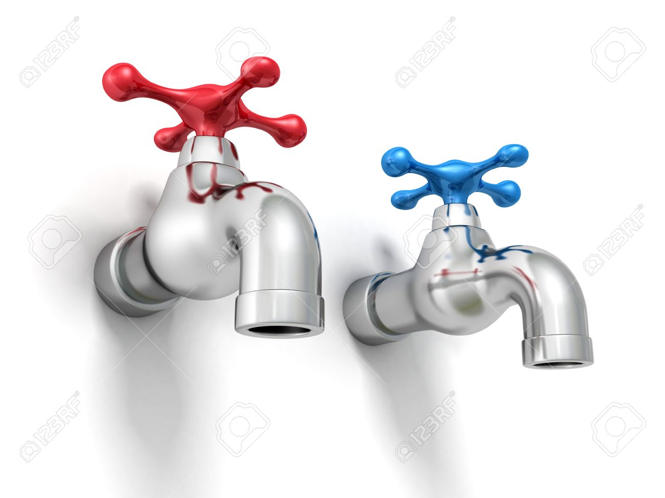 Cold And Hot Water Tap Faucets. 3d Render Illustration Stock Photo ...