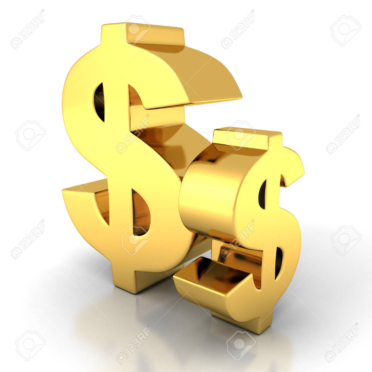 Two Golden Dollar Currency Symbols On White Background 3d Render