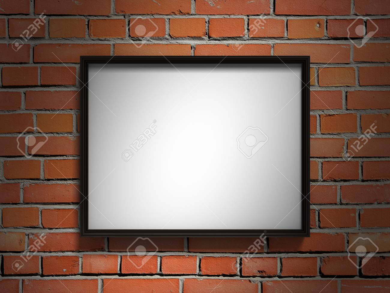 Blank Bilderrahmen Auf Roter Mauer. 3d Render Darstellung ...