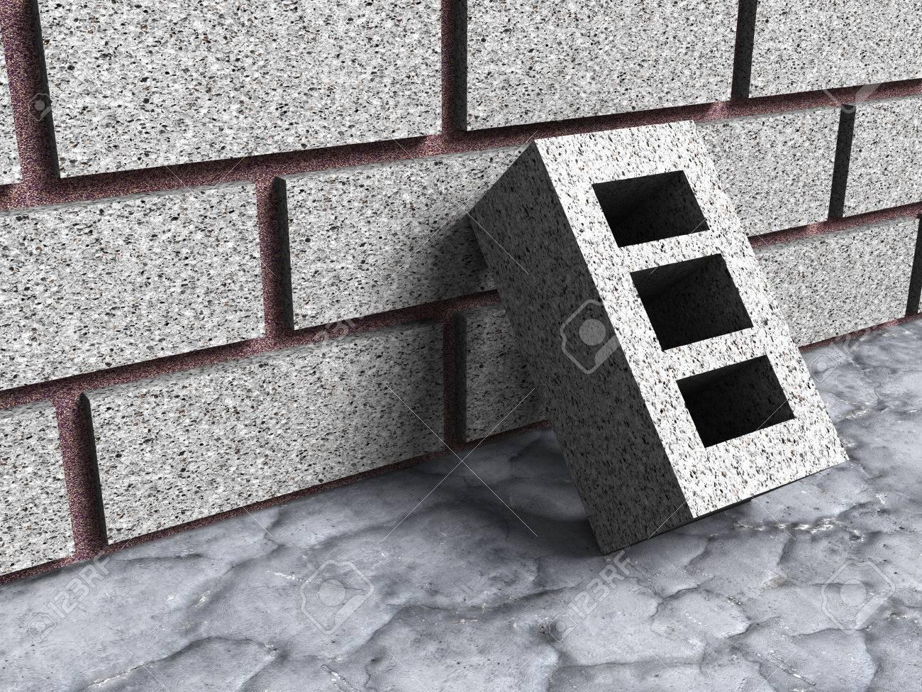 Construccion De Edificios De Ladrillo De Hormigon Con La Pared 3d - Ladrillo-de-hormigon