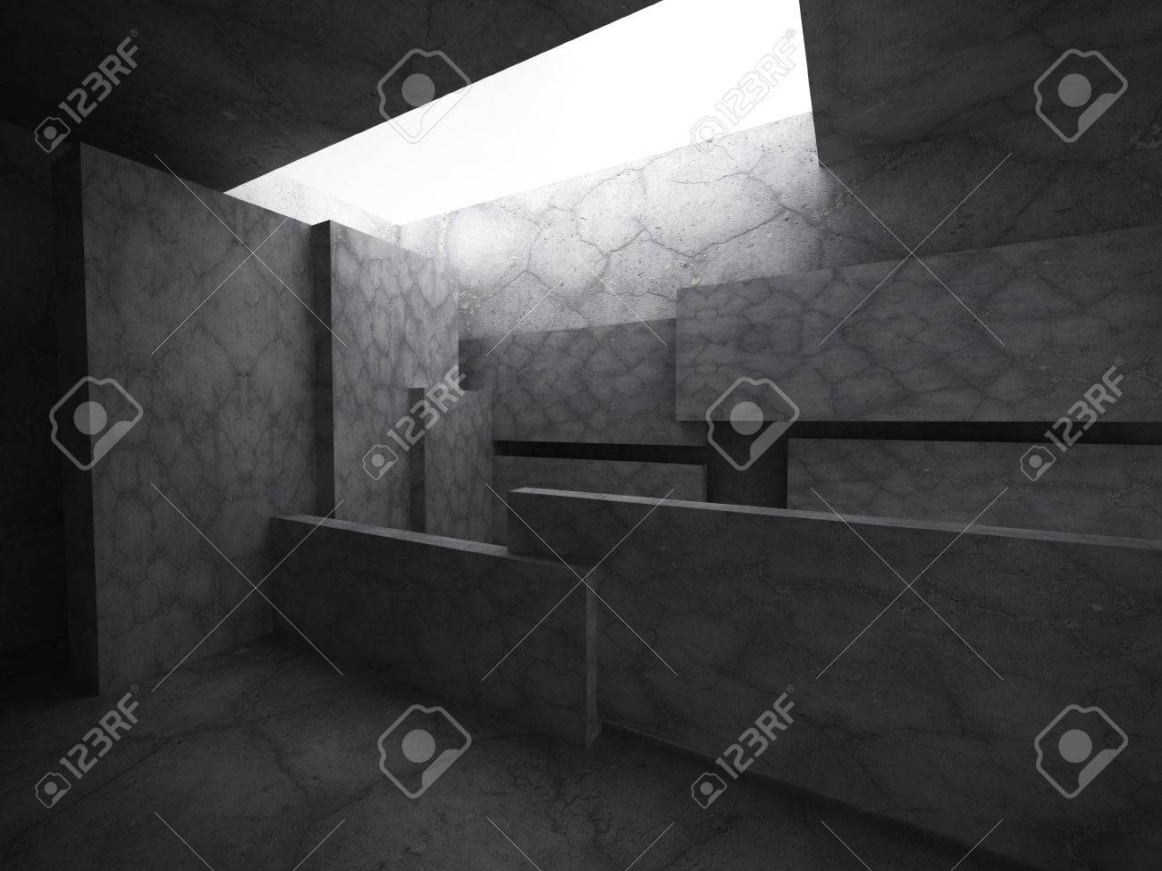 Interior De Cuarto Oscuro Concreto. Fondo De Arquitectura ...