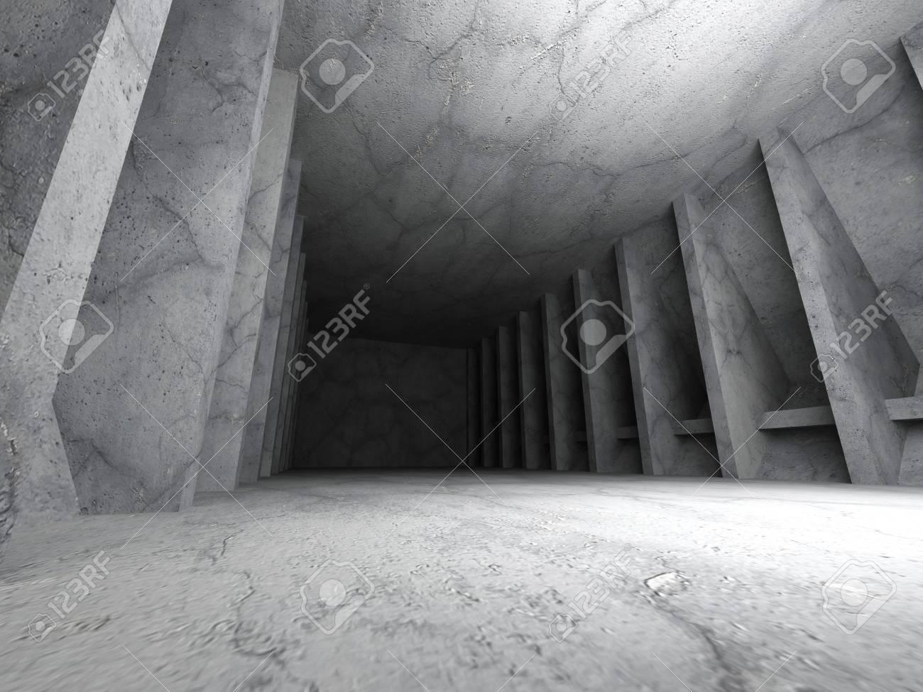Hormigón cuarto oscuro interior urbano. Fondo de la arquitectura moderna.  3d ilustración