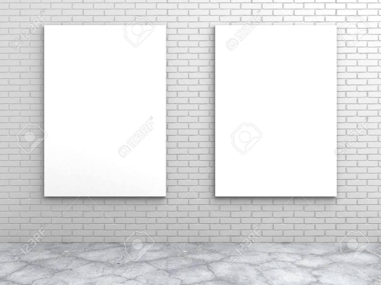 3f39290976d two white blank frames on a brick wall. 3d render illustration Stock  Illustration - 64399766
