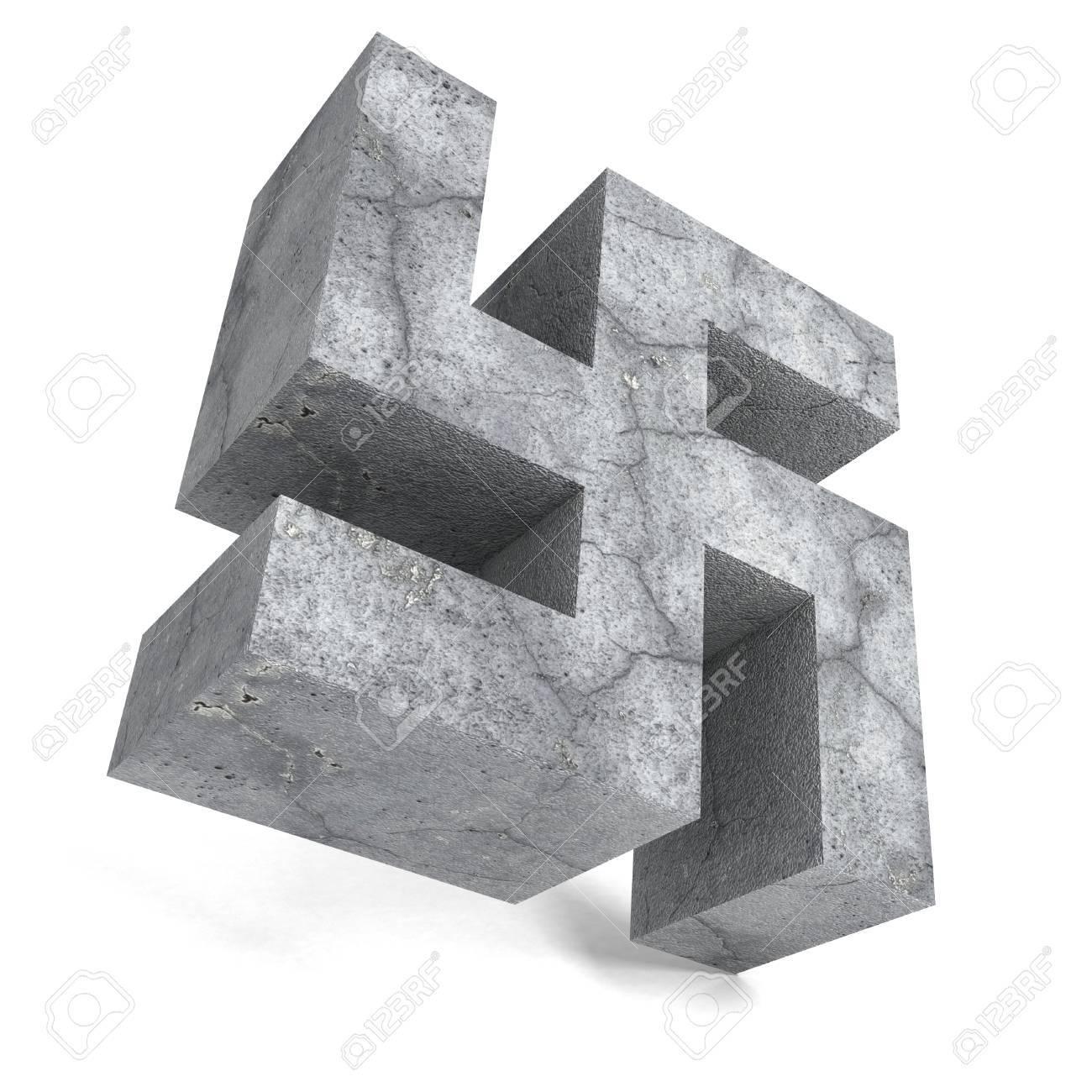 Stone Concrete Swastika Symbol On White Background 3d Render