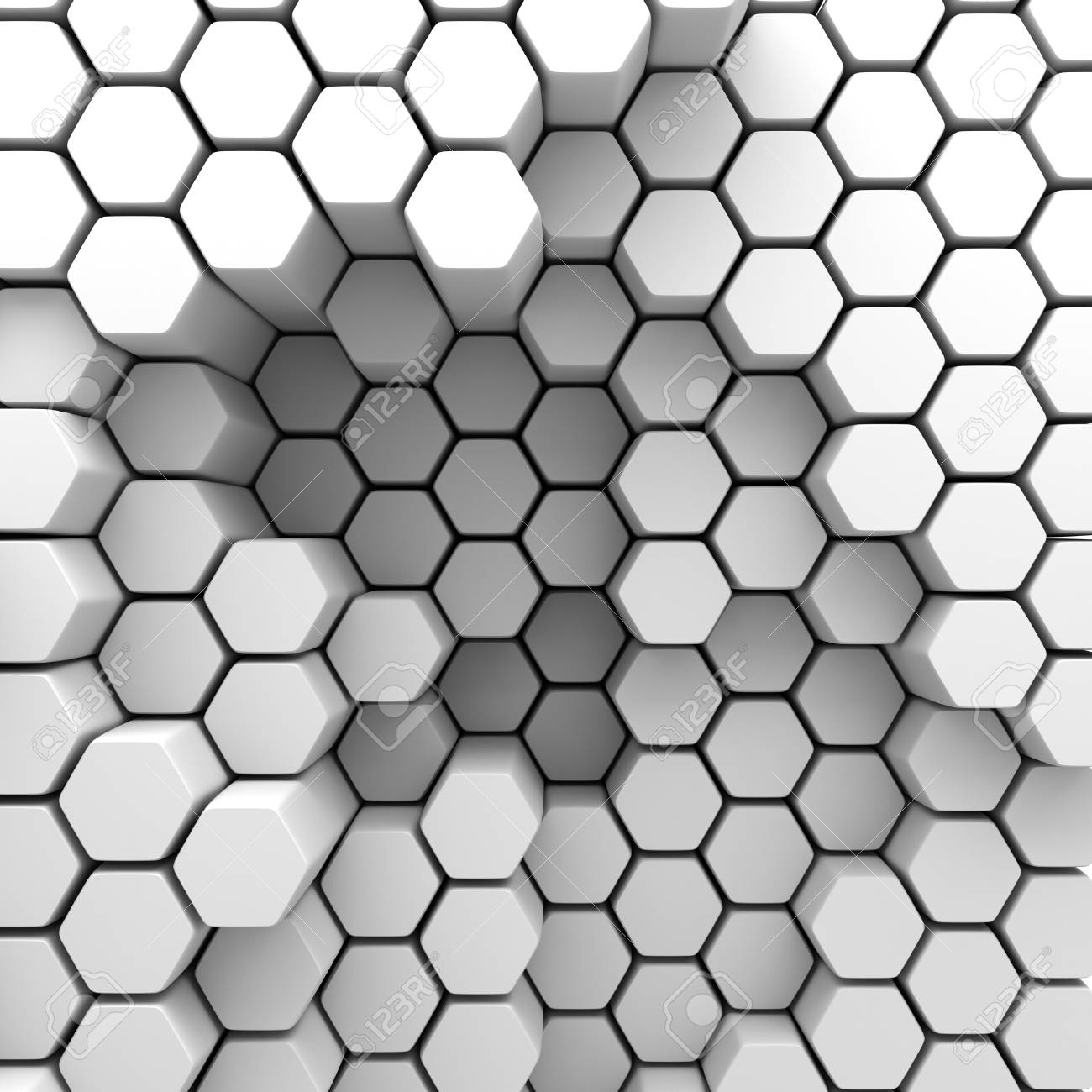 abstract hexagon chaotic pattern wall background 3d render