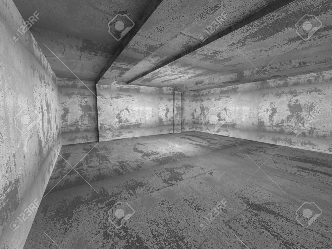 Concrete Empty Dark Room Interior Industrial Architecture Background 3d Render Illustration Stock