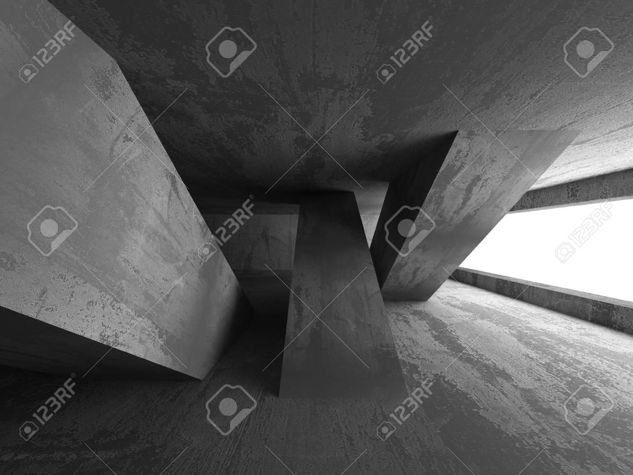 Muros De Hormigón Cuarto Oscuro Interior Fondo Abstracto. 3d ...