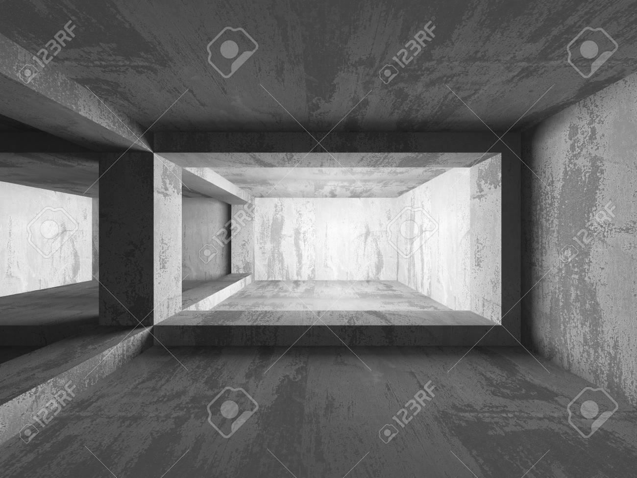 Fondo concreto arquitectura. Resumen cuarto oscuro vacío. 3d ilustración