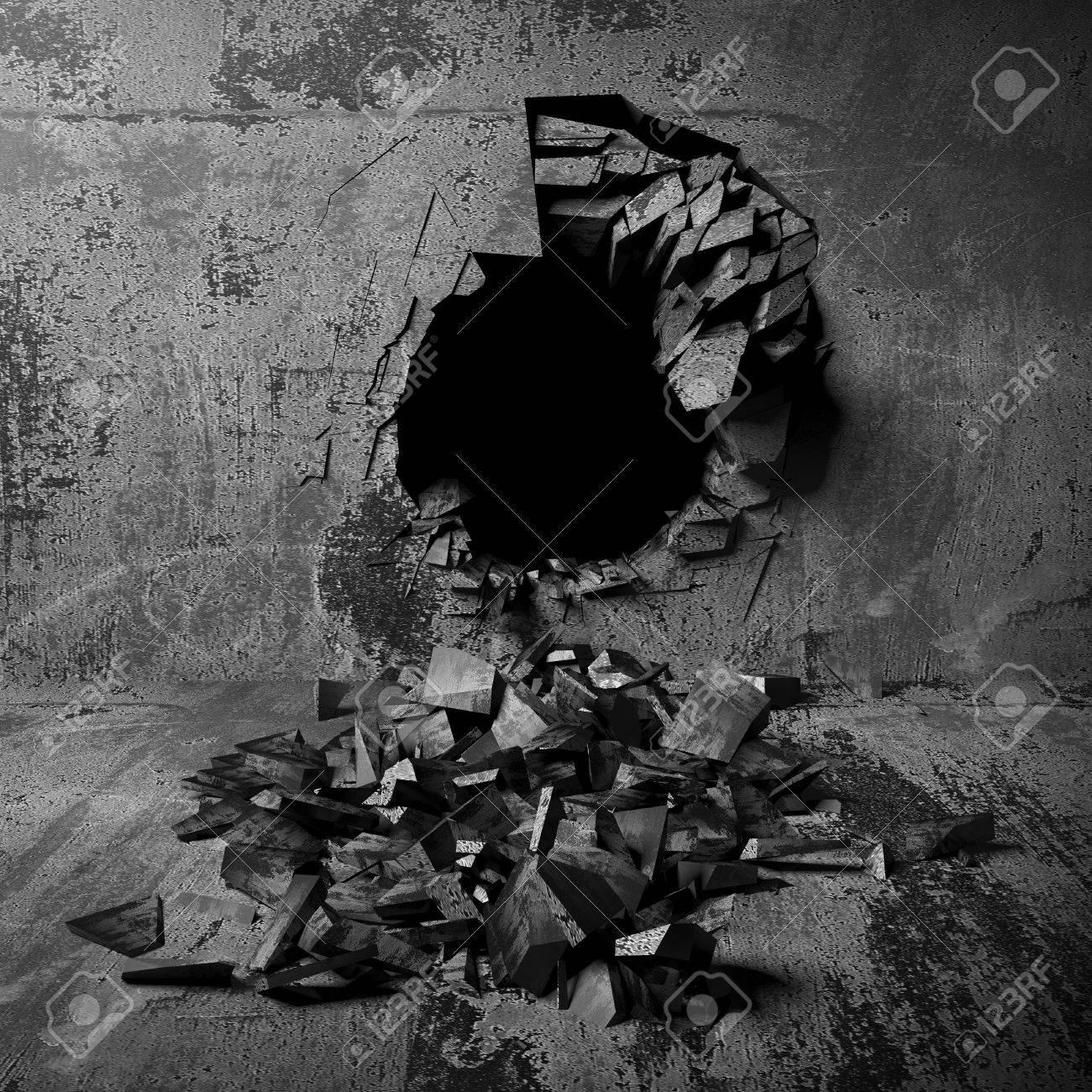 Dark cracked broken wall in concrete wall  Grunge background  3d render  illustration Stock Illustration. Dark Cracked Broken Wall In Concrete Wall  Grunge Background