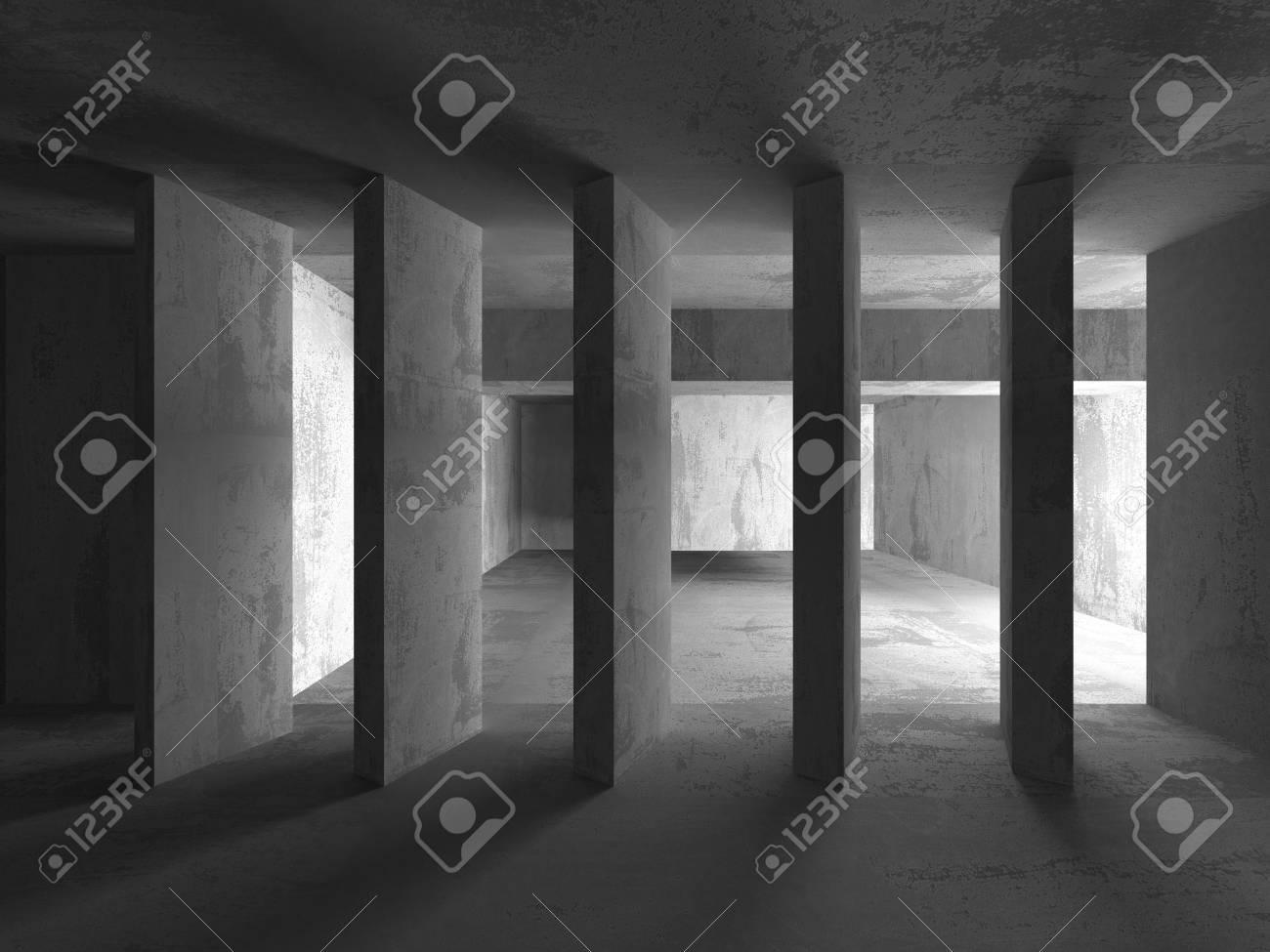 Fondo De Arquitectura Concreta. Resumen Cuarto Oscuro Vacío ...